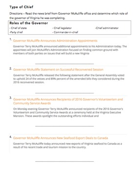 VA Civics & Economics SOL Review Packet #2: Structures of American Government