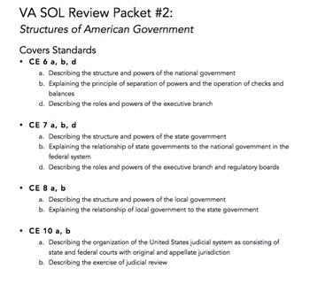 VA Civics & Economics SOL Review Packet #2: Structures of