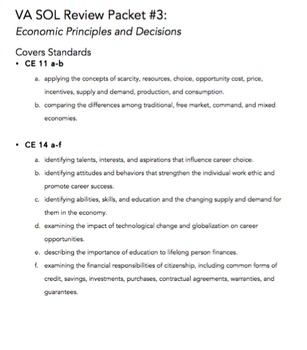 VA Civics & Economics SOL Review Packet #3: Economic Princ
