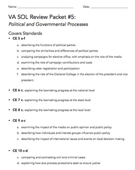 VA Civics & Economics SOL Review Packet #5: Political and
