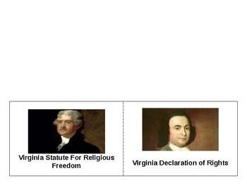 VA Declaration of Rights & VA Statute For Religious Freedom Foldable SOL VS.6b