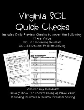 GRADE 5 MATH VIRGINIA SOL QUICK CHECKS: SOL 5.1/5.5