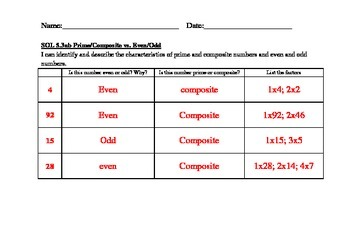GRADE 5 MATH VIRGINIA SOL 5.3 PRIME/COMPOSITE & EVEN/ODD