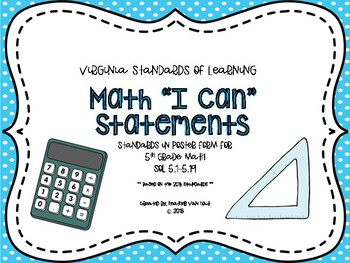 "VA Math SOL Objectives/""I Can"" Statements"