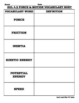 GRADE 4 VIRGINIA SCIENCE SOL 4.2 FORCE & MOTION VOCABULARY SORT