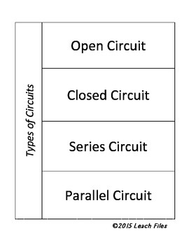 GRADE 4 VIRGINIA SCIENCE SOL 4.3 CIRCUITS FOLDABLE