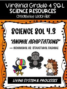 GRADE 4 VIRGINIA SCIENCE SOL 4.5 ANIMAL ADAPTATION FOLDABLE