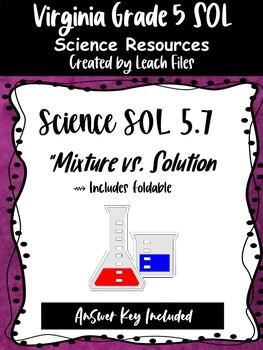 GRADE 5 VIRGINIA SCIENCE SOL 5.4 MATTER FOLDABLE