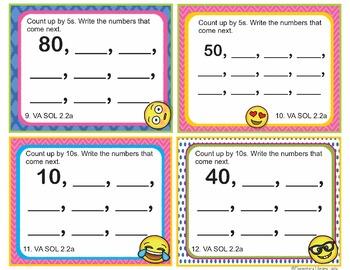 VA SOL 2.2 Virginia (2016) - EMOJI 2nd Grade Math Task Cards Place and Value