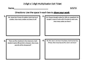 VA SOL 2 digit x 1 digit mulitplication exit ticket