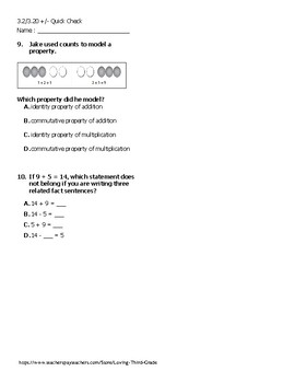 VA SOL 3.2/3.20 (addition and subtraction) Quick Check (2009 Standards)