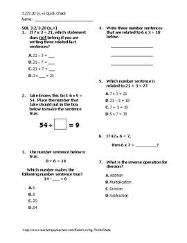 VA SOL 3.2/3.20 (multiplication and division) Quick Check