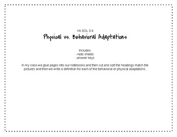 VA SOL 3.4 Physical vs. Behavioral Adaptions