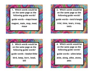 VA SOL 3rd, 4th, 5th Guide Word Task Cards with Strategy and Answer Key