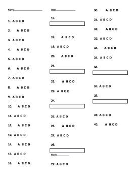 VA SOL 4th Reading 2015 released test recording score sheet