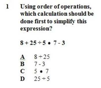 VA SOL 5.7 Order of Operations Two Worksheets with 10 Questions Each