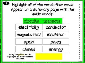 VA SOL Dictionary Guide Words Test Prep