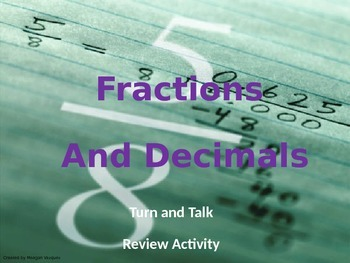 VA SOL Fraction and Decimal Turn and Talk Activity