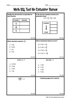 VA SOL Grade 5 Math Test Calculator Inactive Review