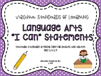 "VA Language Arts SOL Objectives/""I Can"" Statements"