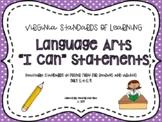 "VA 5th Grade Language Arts SOL Objectives/""I Can"" Statements"