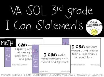 Virginia SOL I Can Statements 3rd Grade Math Editable