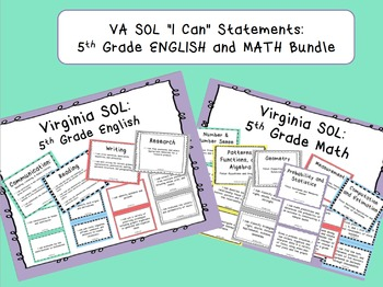 "VA SOL ""I Can"" Statements: 5th Grade ENGLISH and MATH Bundle"