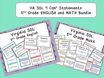 "VA SOL ""I Can"" Statements: 5th Grade ENGLISH and MATH Bundle"
