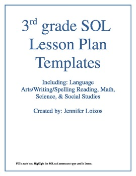 VA SOL Lesson Plan Templates