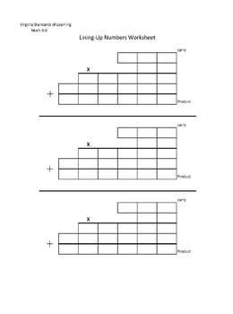 VA SOL Multiplication Number Line-Up Worksheet