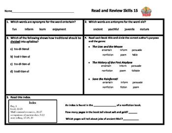 VA SOL Reading Test Prep Review 15