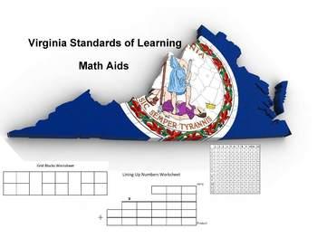 VA SOL Subtraction Line Up Number Worksheet