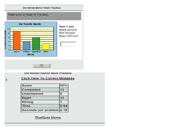 VA SOL TEI 3rd Grade Math Online Self Checking Quiz Mult& Divis, Graphing