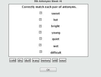 VA SOL TEI Anytonyms Matching Online Self Checking Quiz 3rd, 4th, 5th