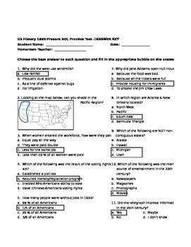 VA SOL US History 1865-Present Practice SOL Test-I