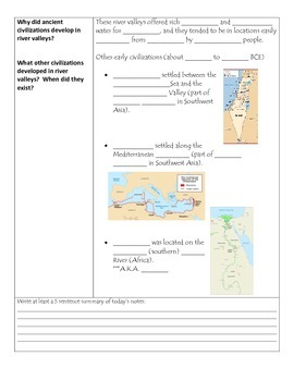 Fill-in-the-Blank Notes for VA SOL WHI.3 River Valley Civilizations