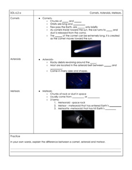Space - VA Science 6 SOL 6.2 Notes (NEW 2018 Standards)