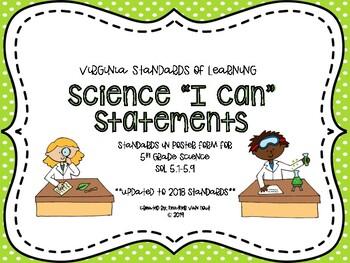 "VA 5th Grade Science SOL ""I Can"" Statements"