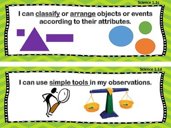VA Standards of Learning 1st Grade Science I Can Statements