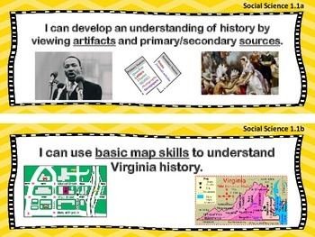 VA Standards of Learning 1st Grade Social Studies I Can Statements