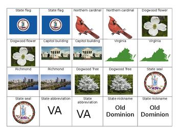 Virginia State Symbols Memory Game