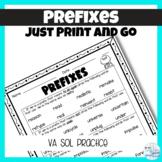 VA SOL Word Study Prefixes Worksheet