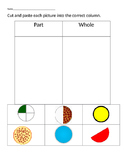 VAAP Fractions Parts v Whole Sorting Worksheet (Low Level)