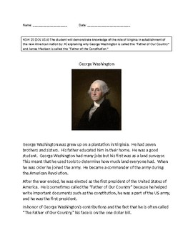 VAAP History Middle School: George Washington Activity