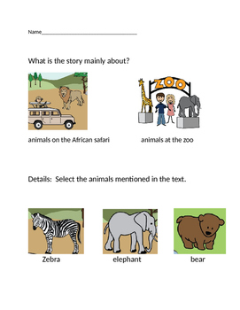 "VAAP Main Idea & Details Worksheet - ""African Safari"" (Low Level)"