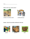 "VAAP Main Idea & Details Worksheet - ""At the Zoo"" (Low Level)"
