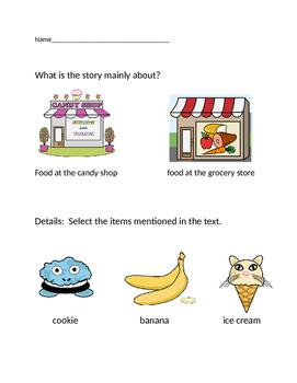 "VAAP Main Idea & Details Worksheet - ""Candy Shop"" (Low Level)"