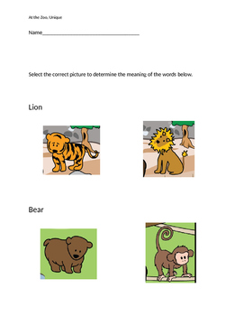 "VAAP Word Meanings - ""At the Zoo"" (Low Level)"
