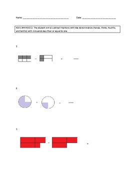 VAAP Worksheet: Subtracting fractions with like denominators (with visuals)