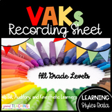 VAKs or Learning Styles Recording Sheet (Visual, Auditory,